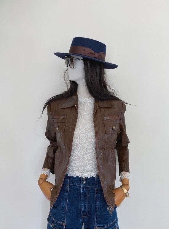 VTG 70s leather biker jacket
