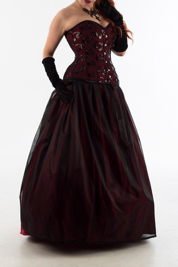 Custom Red And Black Lace Corset Wedding Dress Steampunk Gothic Bride