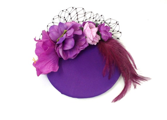 SALE Purple and Lilac Fascinator Vintage Wedding Cocktail Hat  4a9b8550b9c