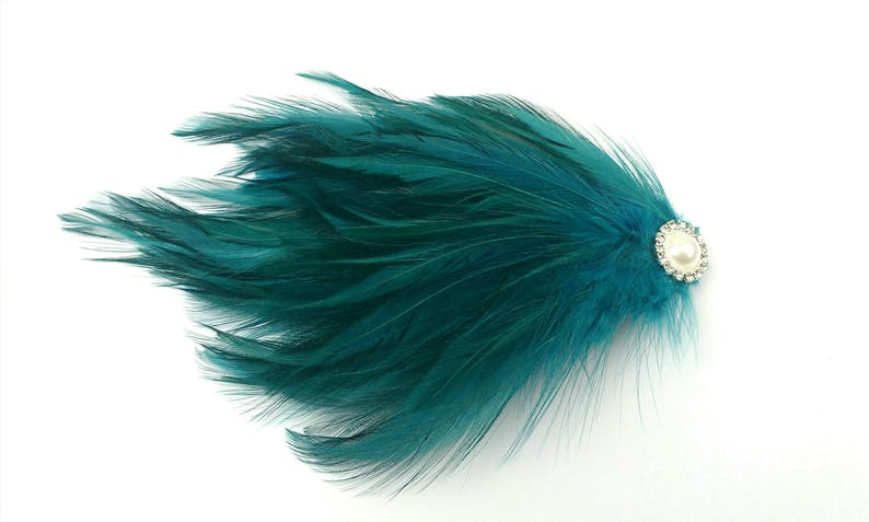 Teal Burlesque Feather Pad Fascinator Pearl Gatsby Flapper Hair Accesory