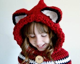 Fox Hat - Fox Hoodie - Fox Cowl - Animal Hat - Hooded Scarf - Crochet Hoodie - Chunky Crochet Hat - Christmas Gift for Kids