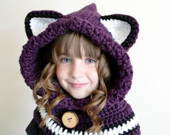 Fox Hat - Fox Hoodie - Fox Cowl - Animal Hat - Hooded Scarf - Crochet Hoodie - Chunky Crochet Hat