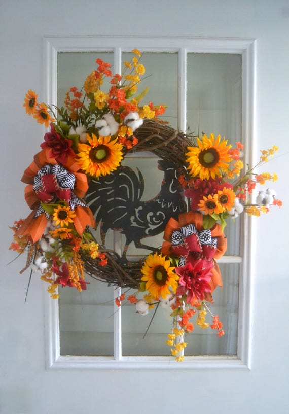 Rooster Sunflower Fall Wreath Farmhouse