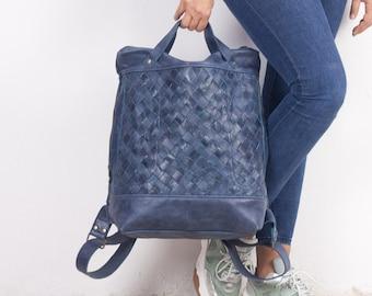Blue handweaved leather backpack, laptop backpack work simple soft leather bag with zipper knapsack 15 macbook 13 - The Minos backpack
