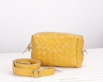 knitting bags S4 crocheting bag Kit of Calliope design bag in honey mustard suede DIY leather bags