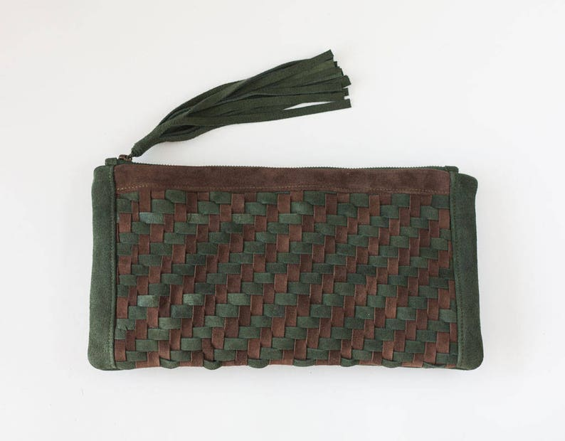 c87e80b599 Patterned clutch purse in green and brown suede leather flat