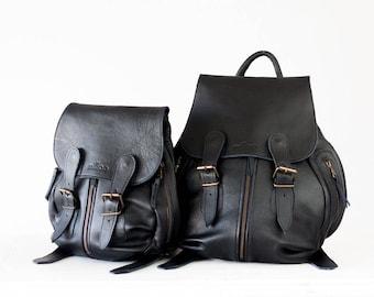 Black leather backpack, travel backpack back bag women daypack knapsack everyday large  - Artemis backpack