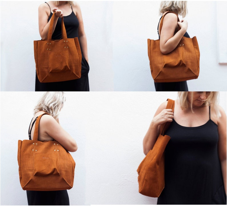 Shopper tote bag in red leather,shoulder bag,women purse,large bag,raw edge leather tote The Aella tote