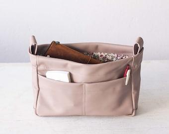 Beige pink leather bag organizer, purse insert diaper bag organizer large removable bag insert bag insert handbag -Bag organizer