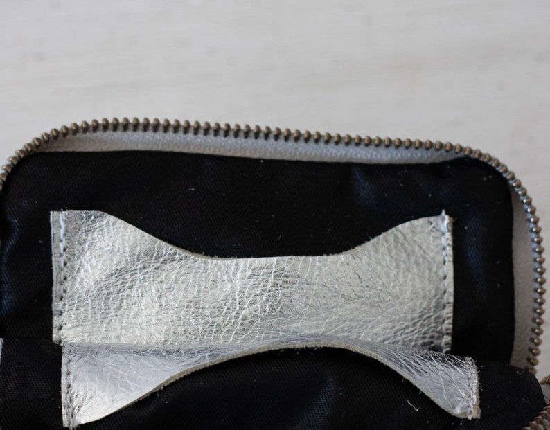coin purse zipper phone case money bag credit card purse Zipper phone case gold and silver coated leather The Myrto Zipper pouch