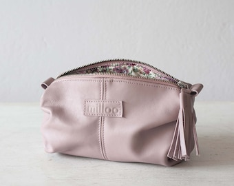 Sandy pink leather zipper pouch, accessory bag leather cosmetic bag vanity storage clutch toiletry case zipper pouch - Ariadne makeup bag