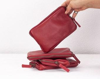 Red leather zippered wallet, clutch purse zipper phone case money bag phone case purse handbag - The Chloe wallet clutch