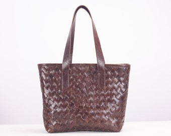 Dark brown handwoven leather tote bag, braided lined leather purse shopper bag shoulder womens large market bag - Calisto bag