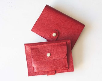 Large women wallet in red leather, phone wallet clutch phone wallet case bifold wallet leather phone case - Iole Wallet