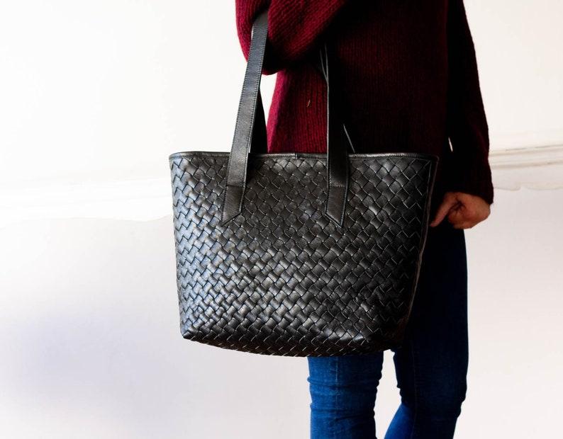 9cb1e1109e Black handwoven leather tote bag, braided lined leather purse shopper bag  shoulder womens large market bag - Calisto bag