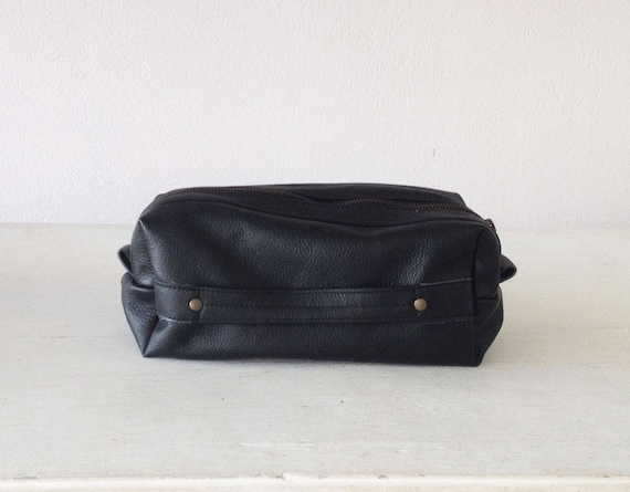 Travel case in black leather accessory case toiletry storage   Etsy 71ebf5c5f9