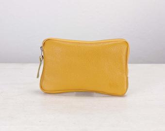 Yellow pebbled leather zippered wallet, clutch purse zipper phone case money bag phone case purse handbag - The Chloe wallet clutch