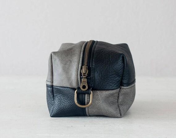 Dopp kit black and grey leather toiletry case makeup bag   Etsy b131af5dc2