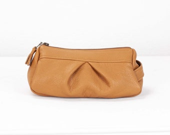 Brown leather makeup bag, accessory bag pencil case zipper pouch travel case jewellery case - Estia Bag