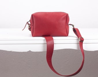 Red pebbled leather shoulder purse, sling bag handbag shoulder bag hand woven clutch braided bag - The Calliope purse