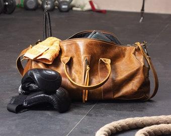 Brown vintage distressed leather duffel bag, travel bag mens unisex gym bag duffle bag mens weekender bag crossbody bag - Nestor duffel bag