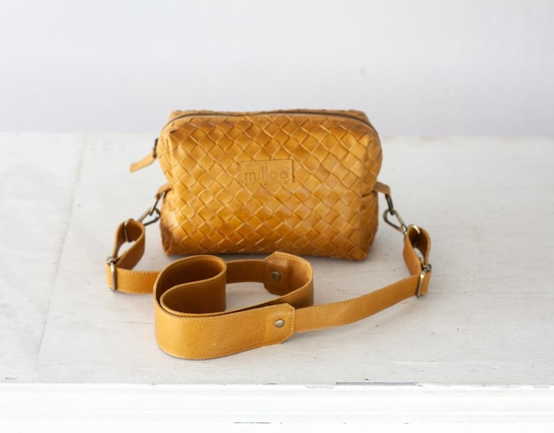 9901fae378 Mustard yellow handwoven leather shoulder purse sling bag