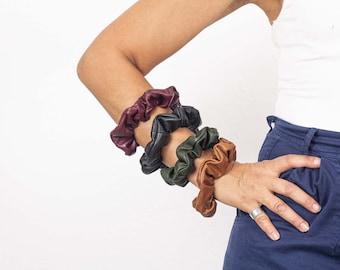 Lambskin scrunchies, leather hair ties ponytail holder elastic hair bands accessories scrunchy leather hair wrap hair tie bracelet