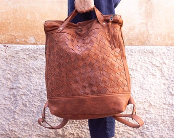 Hazelnut brown hand woven distressed leather backpack, laptop backpack soft braided bag with zipper 15 macbook 13 daypack - The Minos Bag