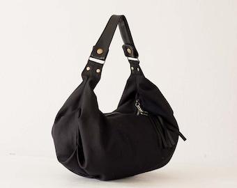 Black canvas bag, hobo purse everyday bag small shoulder bag slouchy purse hobo purse women bag small womens bag - Mini Kallia bag