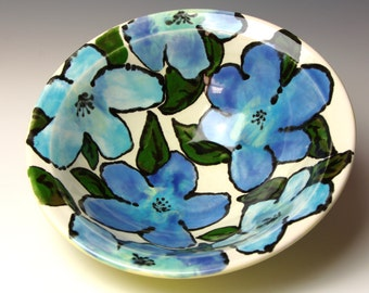 Handmade Ceramic Bowl, Yellow with Deep Blue Watercolor Flowers, Porcelain Pottery