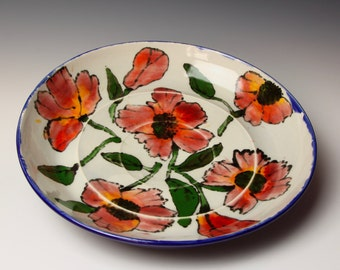 Ceramic Serving Bowl, Watercolor Red Poppies, Porcelain Pottery, cobalt blue