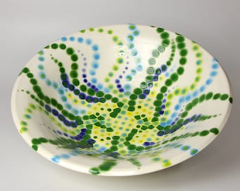 Large Ceramic Serving Bowl with Blue, Green and Yellow Tentacles