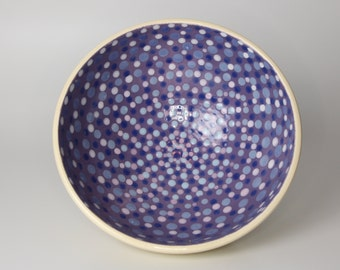 Deep Pottery Bowl with a Bright Blue and Purple Dot Pattern