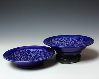 Large Shallow Bowl Pair - Dessert - RIVERSTONE - Cobalt Blue and White