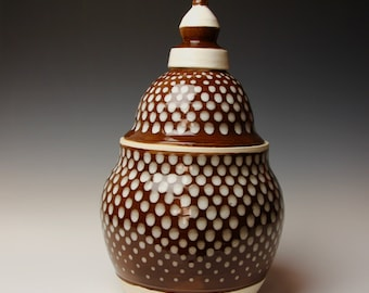 Ceramic Biscuit Jar, Brown White Spotted Pattern, Tall Porcelain Jar