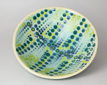 Ceramic Pottery Bowl with a Art Deco Style Dot Pattern