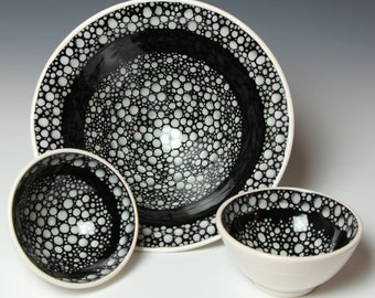 Porcelain Bowl Set - Serving and 2 Small Bowls - RIVERSTONE - White on Black Dots