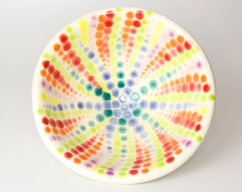 Handmade Ceramic Bowl with a Colorful Dot Pattern
