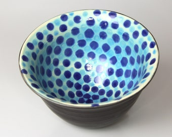 Ceramic Pottery 'Bell' Bowl with a Checkerboard Blue Dot Pattern