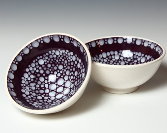 Small Porcelain Bowl Set - Rice Bowl - RIVERSTONE - Burgundy and White
