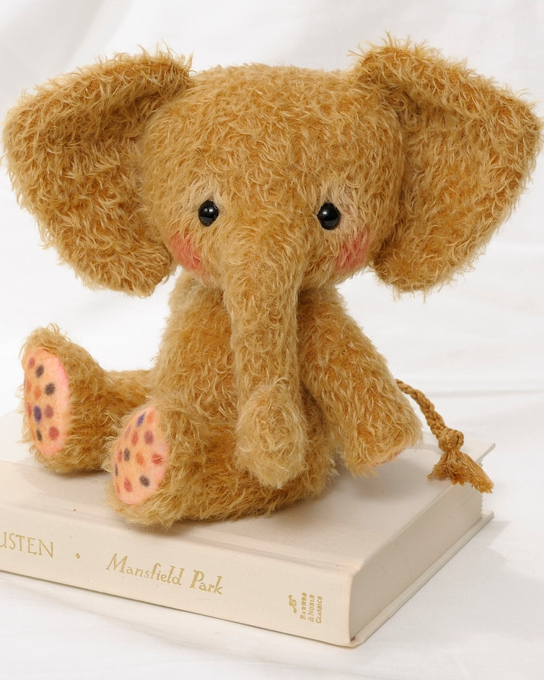Mohair Stuffed Elephant pdf Pattern  Toffee  Instant image 0