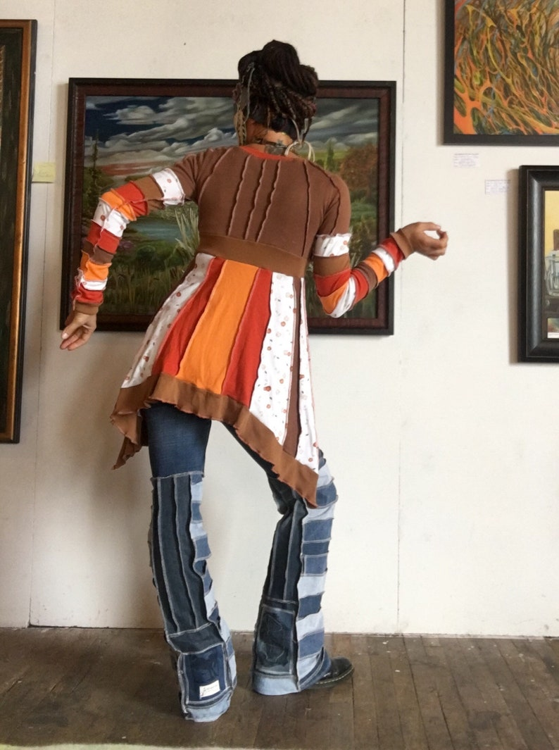 Plant Goals Harvest Dreams pumpkin autumn orange brown tunic upcycled cotton ooak
