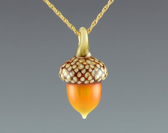 Art Glass Acorn Necklace