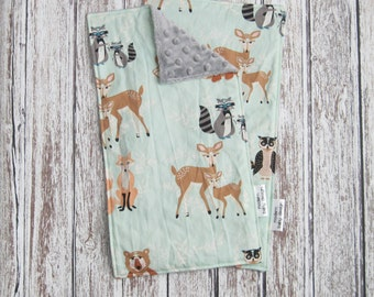 Mint Green Woodland Baby Burp Cloths, Gender Neutral Burp Cloth, Buck Forest Baby Burp Cloth