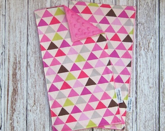 Two Pink Triangle Baby Burp Cloths, Baby Girl Burp Cloth, Pink Minky Baby Burp Cloth