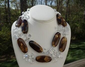 Brown Antique Agate and Quartz Doublestrand Necklace