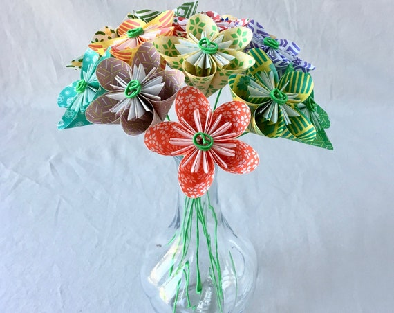 Flower Bouquet in Patterned Origami Paper