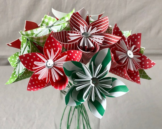 Christmas Paper Origami Flower Bouquet