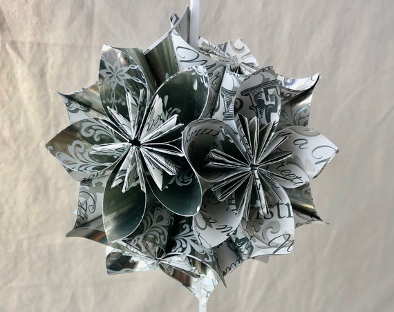 Christmas Tree Ornament in Silver and White Origami Paper Flower Decoration