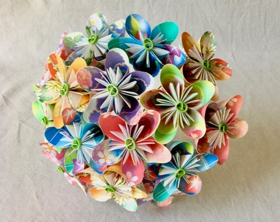 Bridal Bouquet with Origami Paper Flowers in Floral and Boutonniere Set